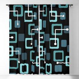 Midcentury 1950s Tiles & Squares Black Turquoise Blackout Curtain