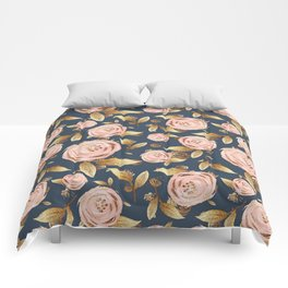 Pink and Gold Spring Floral Comforters