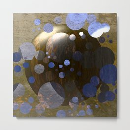 Bronze Gold Blue Moon 3D Pattern Metal Print