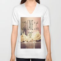 cake V-neck T-shirts featuring Cake by Alyssa Love