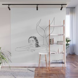 Minimalist Mermaid Wall Mural