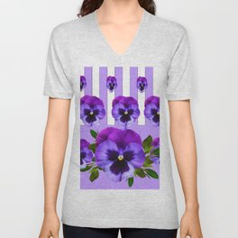 MODERN LILAC & PURPLE PANSY FLOWERS ART Unisex V-Neck