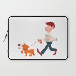 A man walking with his dog Laptop Sleeve