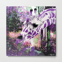GIRAFFE FANTASY ENCOUNTER FOREST DREAM Metal Print