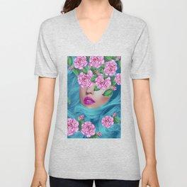 Lady with Camellias Unisex V-Neck