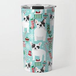 French Bulldog festive holiday pet portrait for frenchie owner pet friendly dog illustration Travel Mug
