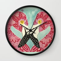 flamingos Wall Clocks featuring Flamingos  by ArtLovePassion