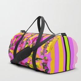YELLOW BUTTERFLIES  PINK FLORAL GARDEN  ABSTRACT Duffle Bag