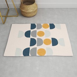 Mid-Century Abstract Blue Shapes Rug