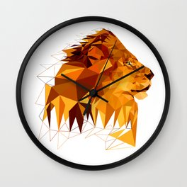 Geometric Lion Wild animals Big cat Low poly art Brown and Yellow Wall Clock