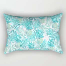 Turquoise Palm Leaves and Pineapples on Pink Rectangular Pillow