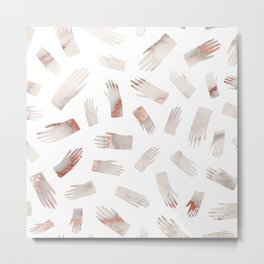 Make Light Work    - Rose Gold Marble Hands Print Metal Print