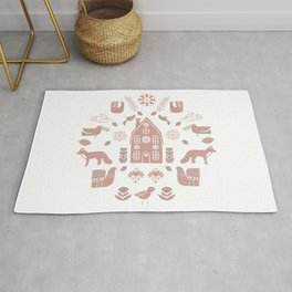 Folk Art Farm 2 // Folk Art Birds, Hand Drawn Leaves, Flowers and Leaves // Pink, white Rug