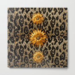 Animal Print Cheetah Triple Gold Metal Print
