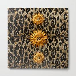 Animal Print Cheetah Triple Gold Metal Print