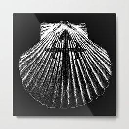 The pilgrim shell-Camino de Santiago-Cross Metal Print