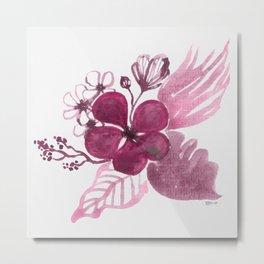 Itsy Bitsy Flowers - Pink Metal Print