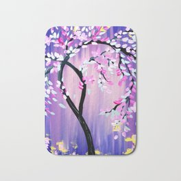 Purple and Pink Cherry Blossom Tree Bath Mat