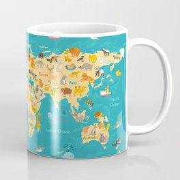 Animal map for kid. World vector poster Coffee Mug