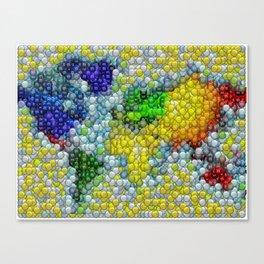 M&Ms Candy mosaic World Map Canvas Print