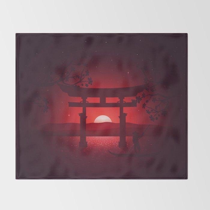 Itsukushima Shrine Throw Blanket