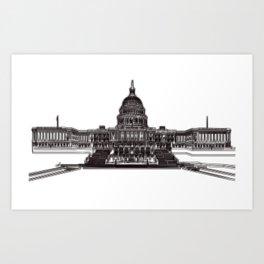 Washington Capitol Building Drawing Art Print