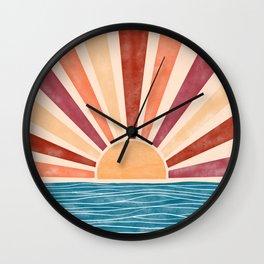 Warm Sunset on the Ocean  Wall Clock