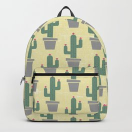 Solitary cactus on a yellow wall Backpack