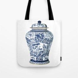 Blue & White Chinoiserie Cranes Porcelain Ginger Jar Tote Bag