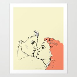 Red Haired Kiss. Art Print