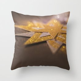 Gold and silver sparkly star design Throw Pillow