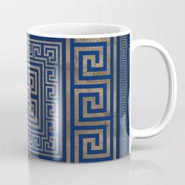 Greek Key Ornament - Greek Meander -gold on blue Coffee Mug