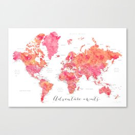 "Adventure Awaits watercolor world map in hot pink and orange, ""Tatiana"" Canvas Print"