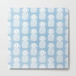 Mid Century Modern Pineapple Pattern Light Blue Metal Print