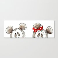 minnie mouse Canvas Prints featuring Mickey and Minnie Mouse.  by Christa Morgan ☽