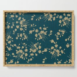 Gold Green Blue Flower Sihlouette Serving Tray