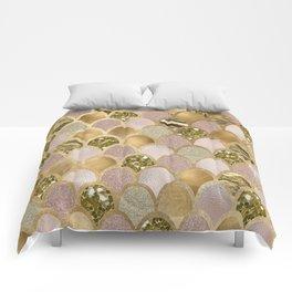 Rose gold glittering mermaid scales Comforters