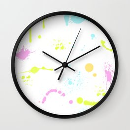 Neon paint splatter 2 Wall Clock