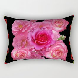 RED & PINK ROSES BLACK VIGNETTE ART  PATTERN Rectangular Pillow
