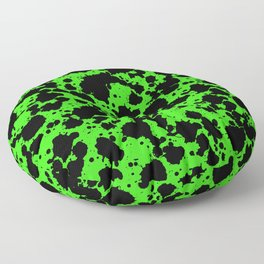 Bright Green and Black Leopard Style Paint Splash Funny Pattern Floor Pillow