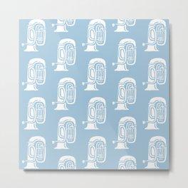 Tuba Pattern Pale Blue Metal Print