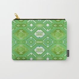 Earthy Moss Green Neo Tribal Geometric Carry-All Pouch