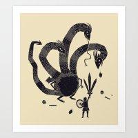 hydra Art Prints featuring hydra(dark) by Louis Roskosch