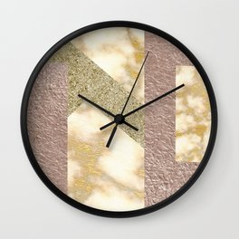 rosegold glitter -marble Wall Clock