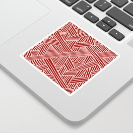 Abstract Navy Red & White Lines and Triangles Pattern Sticker