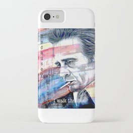 "Johnny Cash Painting ""I Walk The Line"" iPhone Case"