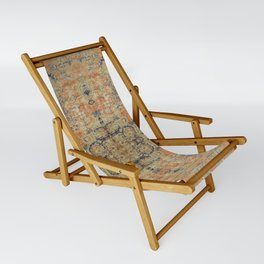 Vintage Woven Coral and Blue Sling Chair