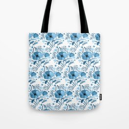 Flower bouquet with poppies - blue Tote Bag