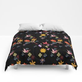 Dark Floral Garden Comforters