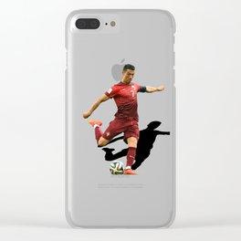 cristiano ronaldo shooting ball Clear iPhone Case